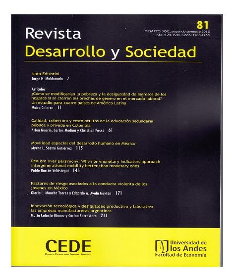 Desarrollo y Sociedad, n°81, segundo semestre 2018